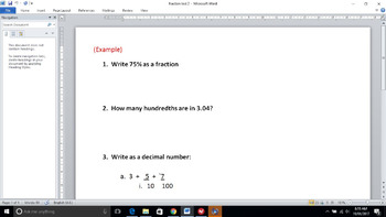 Decimals, Fractions, Percentage test