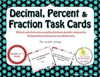 Decimals, Fractions & Percents Task Cards
