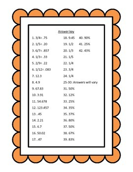 Decimals, Fractions, and Percents Darts: A Review Center Game