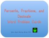 Decimals, Fractions, and Percents Word Problem Cards