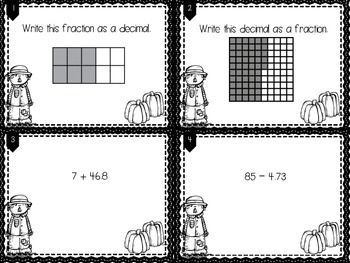 Decimals & Fractions (+ place value) Task Cards or SCOOT!  2 sets!