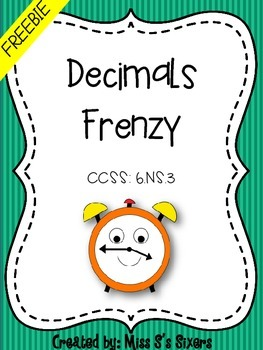 Decimals Frenzy FREEBIE