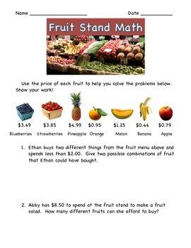 Decimals:  Fruit Stand Math