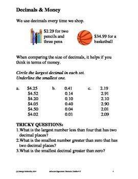 Decimals, Grades 4-6, Advance Organizers