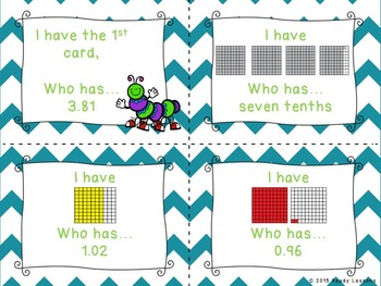 4th Grade Decimals I Have Who Has Decimals Game - 4.NF.6