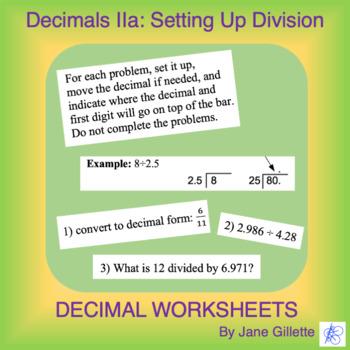 Decimals IIa: Setting Up Division