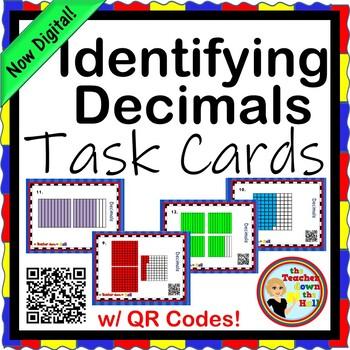 Decimals - Identifying Decimals TASK CARDS w/ QR Codes