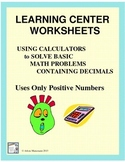 DECIMALS - Math Center Assignments & Quiz for Using Calculators