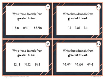 Decimals Task Cards - 3 Leveled Sets