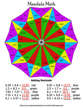 Decimals Mandala Math Color by Number Bundle
