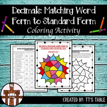 Decimals:  Matching Word Form to Standard Form Coloring Activity