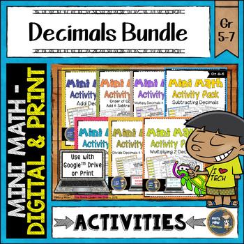 Decimals Math Activities Bundle Google Slides and Printable