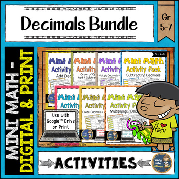 Decimals Math Activities Bundle Puzzles and Riddles