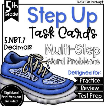 Decimals Math Multi-Step Word Problems Task Cards 5th Grade 5.NBT.7