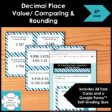 5th Grade Decimal Place Value Comparing and Rounding Math Task Cards