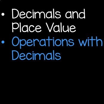 Decimals Math Unit Bundle 5th Grade Common Core