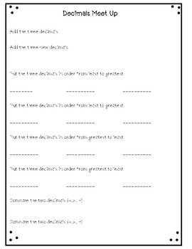 "Decimals ""Meet Up"" Activity For Small Groups or Partners Printable Flashcards!"