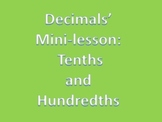 Decimals Minilesson PowerPoint for the Tenths and Hundredt