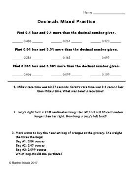 decimals mixed practice worksheet by rachel inkala  tpt decimals mixed practice worksheet
