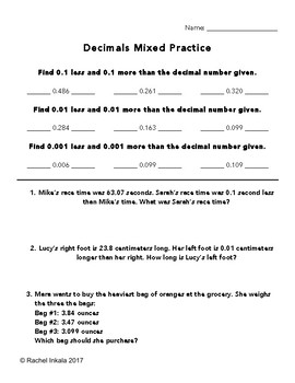 Decimals Mixed Practice Worksheet