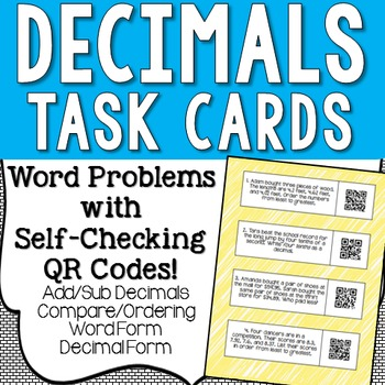 Decimals Word Problems Task Cards with QR Codes