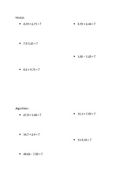 Decimals: Model/Algorithm Practice