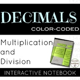 Decimals Multiplication and Division Color Coded notes for Interactive Notebooks