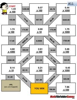 Decimals - Multiplying by Powers of Ten Worksheets/Mazes (MINI BUNDLE)
