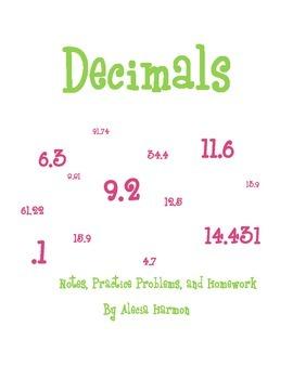 Decimals Notes, Practice Problems, Homework, and Activity