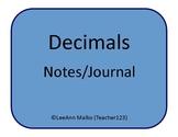 Decimals Notes/Journal