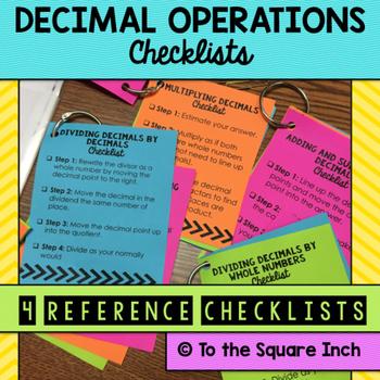 Decimals Operations Checklists