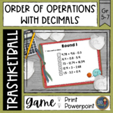 Order of Operations with Decimals Trashketball Math Game