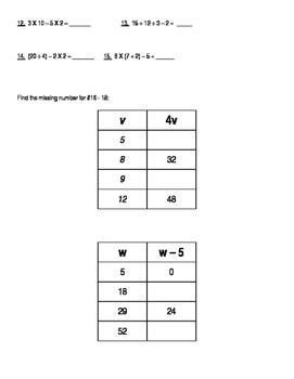 Decimals, Order of Operations, Algebra Charts, Exponents, Area, Perimeter