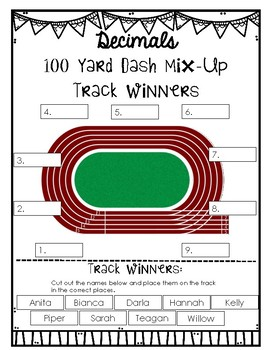 Decimals: Ordering & Comparing {100 Yard Dash Math Center} 4.NF.7