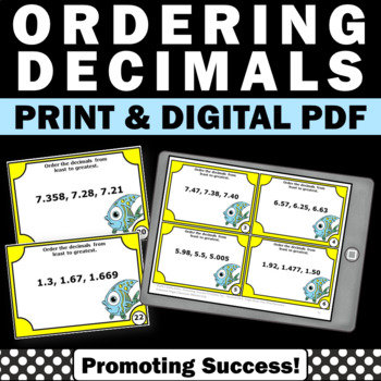Ordering Decimals from Least to Greatest, 5th Grade Math Review, Decimal Games