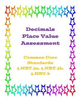 Decimals Place Value Assessment (Common Core)