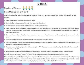Decimals Place Value Fifth Grade Spoons Game