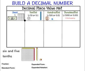 Decimals Place Value Smartboard Game