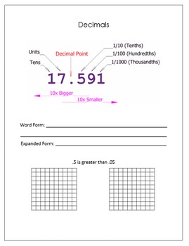 Decimals Place Value and Rounding Decimals Scaffolded Notes