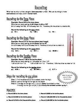Decimals, Place Value, and Rounding Guided Notes, Free