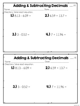 Decimals {Practice Pages}