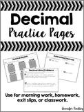 Decimals {Practice Pages}