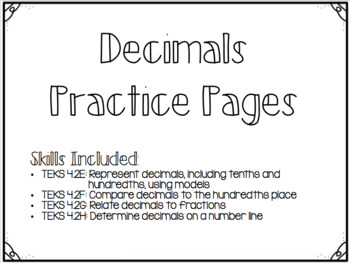 Decimals Practice Pages