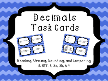Decimals Practice Task Cards-Test Edition