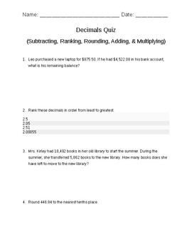 Decimals Quiz (Comparing, Adding, Subtracting, Ranking, Rounding, & Multiplying)