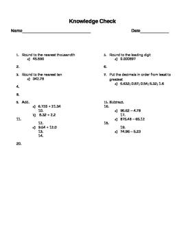 Decimals Quiz/Review