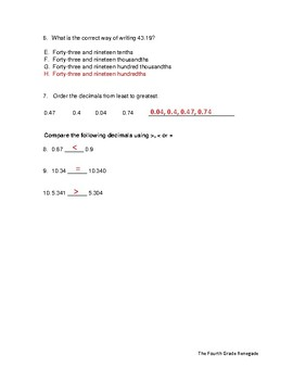 Decimals Quiz or Review