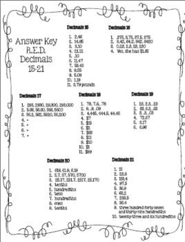 Decimals - R.E.D. (Review Every Day)