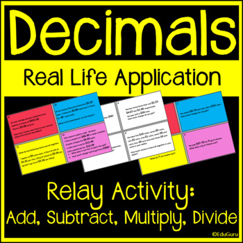 Decimals Real Life Word Problems Relay Game Whole Class Activity