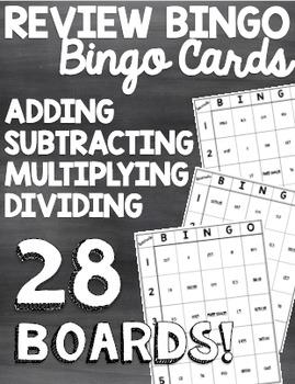 Decimals Review Bingo (Add, Subtract, Multiply, Divide Decimals)